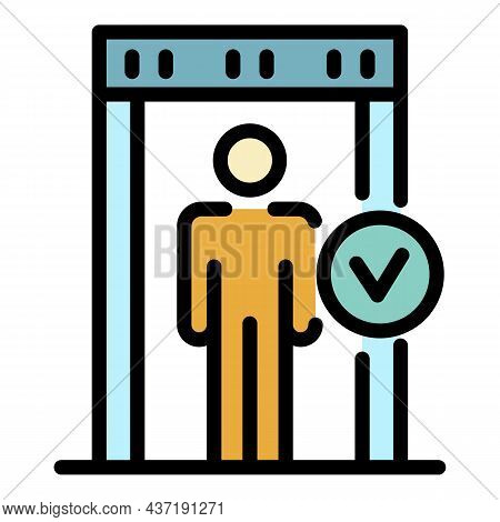 Pass Gate Scanner Icon. Outline Pass Gate Scanner Vector Icon Color Flat Isolated