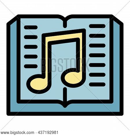 Book And Musical Note Icon. Outline Book And Musical Note Vector Icon Color Flat Isolated
