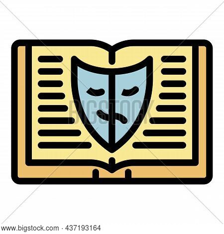 Book And Acting Mask Icon. Outline Book And Acting Mask Vector Icon Color Flat Isolated