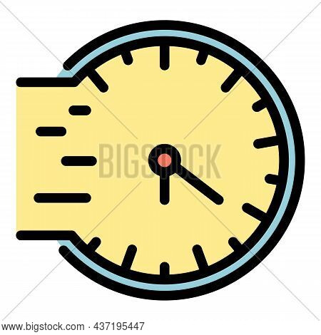 Fast Repair Clock Icon. Outline Fast Repair Clock Vector Icon Color Flat Isolated