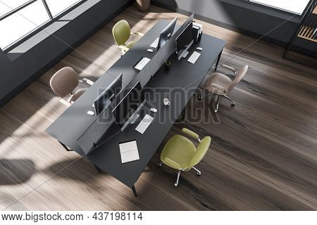 Office Interior Design, Using Dark Wood Floor And Creative Workstation With Four Yellow And Light Br