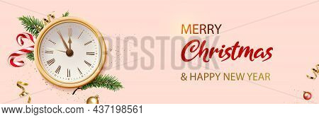 Merry Christmas And New Year Banner. Pink Xmas Background With Golden Clock, Glitter Golden Confetti