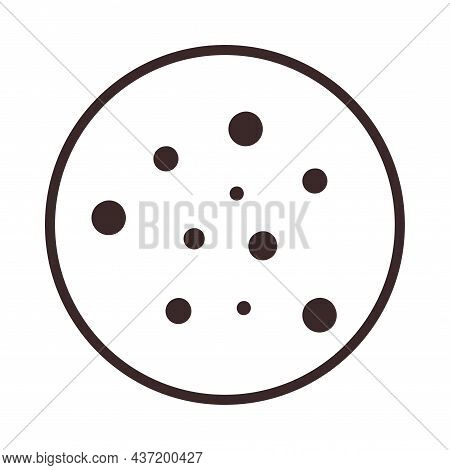 Cookie With Chocolate Crumb Icon. Traditional Chocolate Chip Cookie For Logo, Sticker, Print, Label,