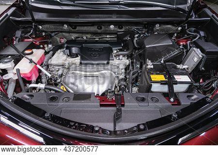 Novosibirsk, Russia - July 16, 2021:  Toyota Rav-4 , Under The Hood Of Car. Powerful Engine Closeup.