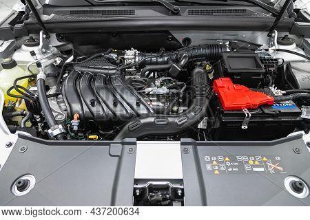 Novosibirsk, Russia - July  22, 2021: Renault Arkana, Under The Hood Of Car. Powerful Engine Closeup