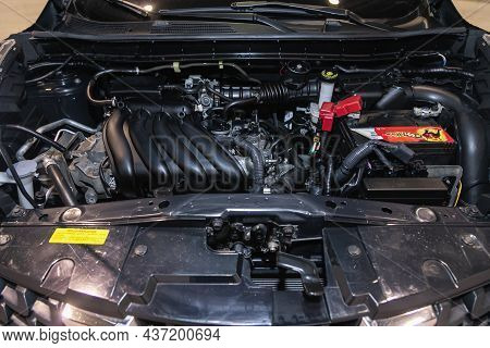 Novosibirsk, Russia - July 27, 2021:  Nissan Juke, Under The Hood Of Car. Powerful Engine Closeup. C