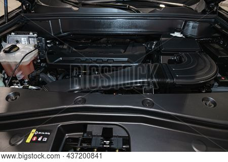 Novosibirsk, Russia - September 12, 2021: Haval F7, Under The Hood Of Car. Powerful Engine Closeup.