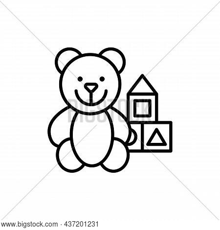 Teddy Bear And Cubes Outline Black Icon. Toy Store Advertising Concept. Trendy Flat Isolated Outline
