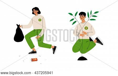 Man And Woman Volunteer Planting Tree And Collecting Garbage Engaged In Freely Labour Activity For C