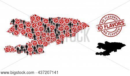 Collage Map Of Kyrgyzstan Composed Of Flu Virus Icons And Humans Icons. No Flavors Exclamation Distr