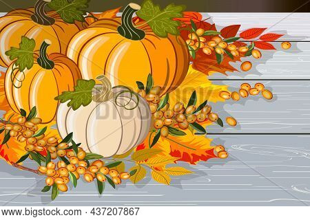 Pumpkins And Berries On Wooden Boards.colored Vector Illustration With Pumpkins, Berries And Autumn