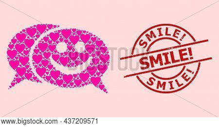 Distress Smile Exclamation Stamp, And Pink Love Heart Mosaic For Happy Chat. Red Round Stamp Seal Ha