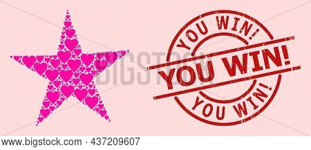 Distress You Win Exclamation Stamp Seal, And Pink Love Heart Mosaic For Star. Red Round Stamp Seal H