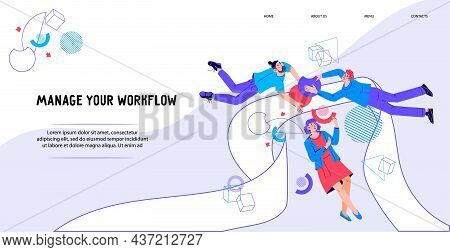 Business Workflow Management Concept Of Website With Business People Interacting With Graphs And Dia