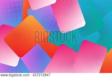 Vector Abstract Half-tone Colourful Shapes On Shaded Backgrounds