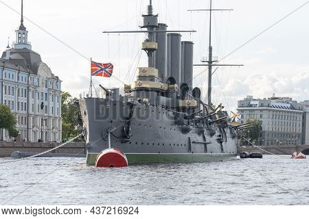 St. Petersburg Russia July 21, 2021, Cruiser Aurora, Day Of The Russian Navy Naval Parade Military D