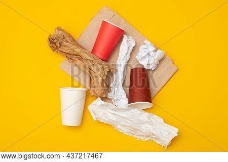 Eco-friendly Disposable Packaging, Waste Recycling Concept, Paper And Cardboard Waste, Rubish Sort A