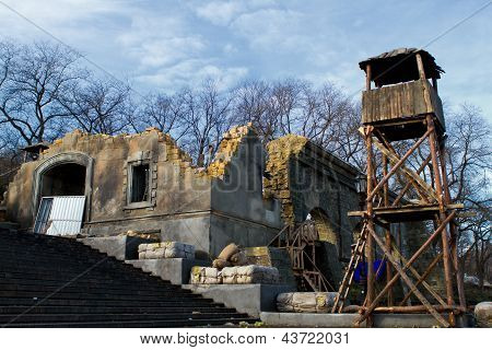 Ruins Of An Old Building And An Observation Tower On The Potemkin Stairs In Odessa