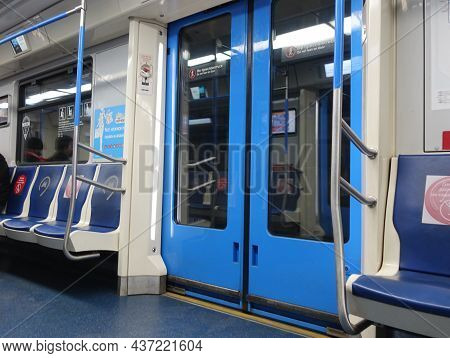 Moscow, Russia October 10, 2021 View Of The Interior Of The Moscow Metro Carriage