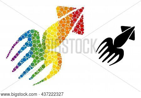 Calmar Mosaic Icon Of Round Items In Different Sizes And Spectrum Color Tinges. A Dotted Lgbt-colore