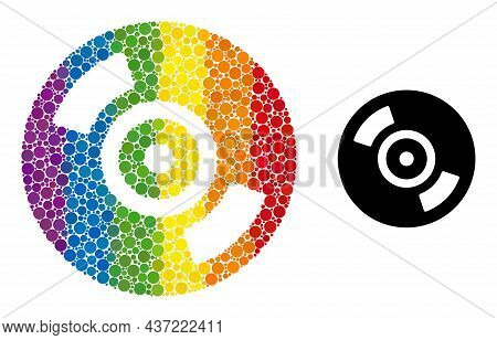 Cd Disc Composition Icon Of Spheric Blots In Different Sizes And Spectrum Color Hues. A Dotted Lgbt-