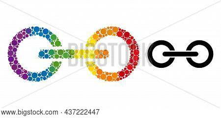 Chain Link Collage Icon Of Round Items In Variable Sizes And Spectrum Color Tinges. A Dotted Lgbt-co