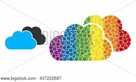 Clouds Composition Icon Of Round Items In Various Sizes And Rainbow Color Tinges. A Dotted Lgbt-colo
