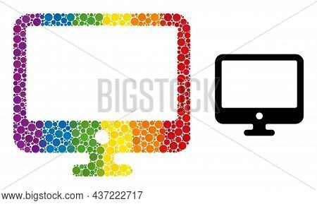 Computer Display Collage Icon Of Filled Circles In Various Sizes And Spectrum Colored Color Tinges.