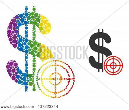 Dollar Target Mosaic Icon Of Round Items In Variable Sizes And Rainbow Colored Color Hues. A Dotted