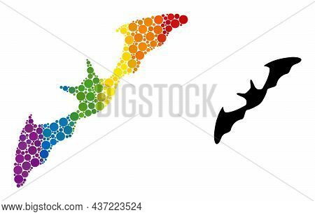 Flying Bat Composition Icon Of Filled Circles In Different Sizes And Rainbow Colored Color Tints. A