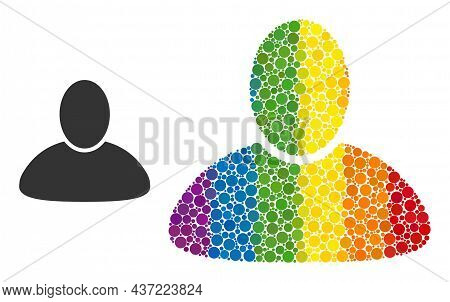 Guy Collage Icon Of Round Items In Different Sizes And Spectrum Colored Color Tints. A Dotted Lgbt-c