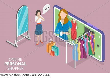 3d Isometric Flat Vector Conceptual Illustration Of Online Personal Shopper, Fashion Consultant Serv