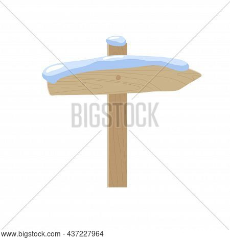 Wooden Plank Signboard With Snow Cap. Signpost With Place For Message In Snowdrift. Direction Wooden