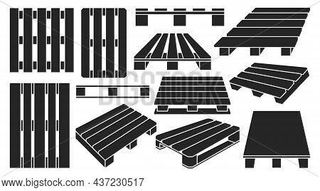Wooden Pallet Vector Black Set Icon. Vector Illustration Warehouse Platform On White Background. Iso