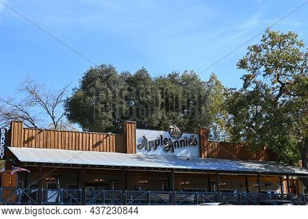 OAK GLEN, CALIFORNIA - 10 OCT 2021: Apple Annies Restaurant at Oak Tree Mountain established 50 years ago as a small apple shed has grown to be a 14- acre family fun park.