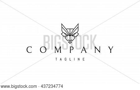 Vector Logo On Which An Abstract Image Of A Wild Ferocious Beast In A Linear Style.