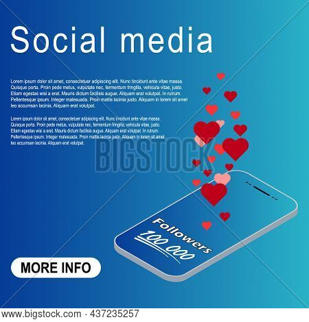 Congratulation Isometric Number Lettering, Collection Celebrate Follower Icon, Web Online Post Vecto