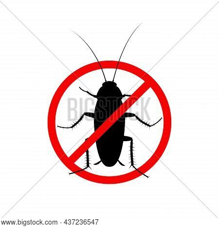 Cockroach Insect In A Red Forbidding Circle Isolated On White Background, Pest Bug Icon Top View. Th