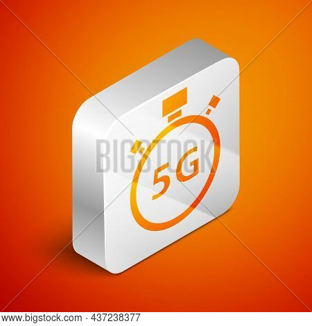 Isometric Digital Speed Meter Concept With 5g Icon Isolated On Orange Background. Global Network Hig