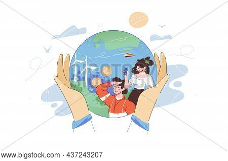 Person Hands Hold Whole Planet Vector Illustration. Best Place For Living Flat Style. Future Technol