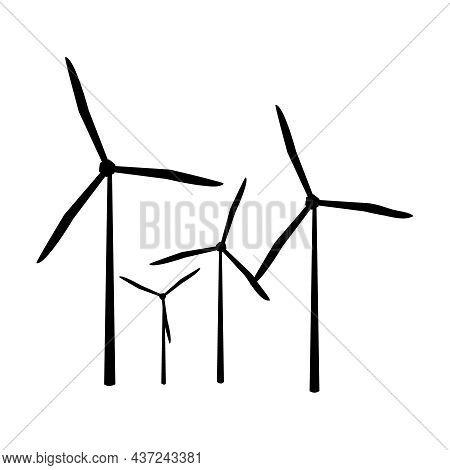 Wind Turbines Isolated On White Background. Windmill Group For Electric Power Production. Wind Power