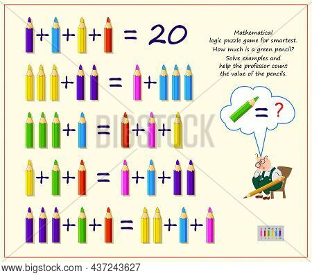 Mathematical Logic Puzzle Game For Smartest. How Much Is A Green Pencil? Solve Examples And Help The