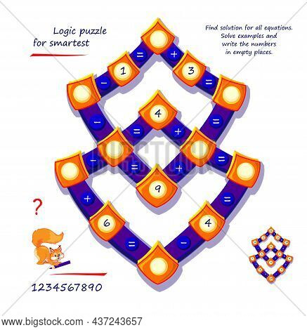 Mathematical Logic Puzzle Game For Smartest. Find Solution For All Equations. Solve Examples And Wri
