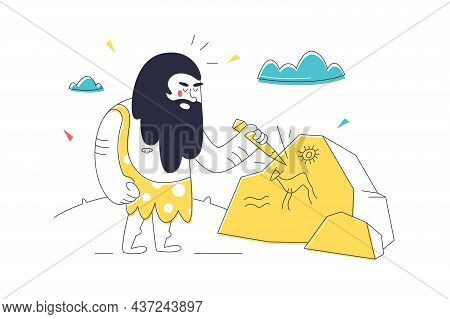 Prehistoric Caveman Character Carving Stone Vector Illustration. Letter On Stone Flat Style. Ancient