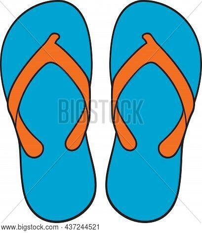 Flip Flops Blue Icon, Color Vector Illustration