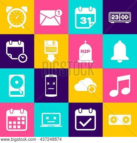 Set Stereo Speaker, Music Note, Tone, Ringing Bell, Calendar, Floppy Disk Backup And And Clock Icon.