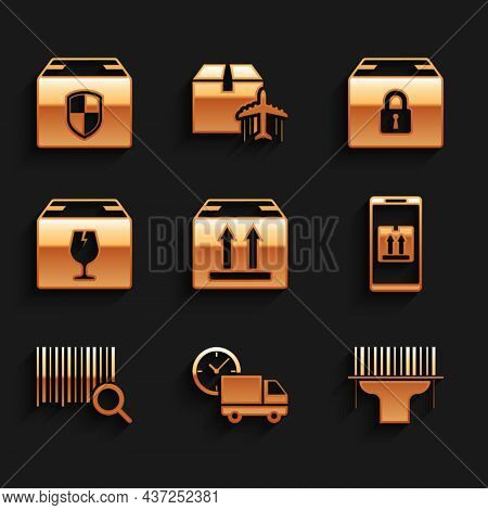 Set Cardboard Box With Traffic, Delivery Truck And Clock, Scanner Scanning Bar Code, Mobile App Trac