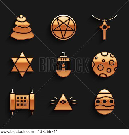 Set Ramadan Kareem Lantern, Masons, Easter Egg, Moon, Decree, Paper, Parchment, Scroll, Star Of Davi