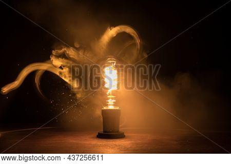 Beautiful Retro Luxury Interior Bulb Lighting Lamp Decor Glowing In Dark.