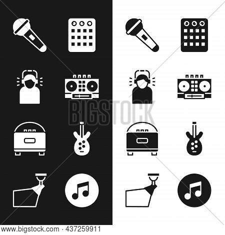 Set Dj Remote And Mixing Music, Man Headphones, Microphone, Drum Machine, Stereo Speaker, Electric B